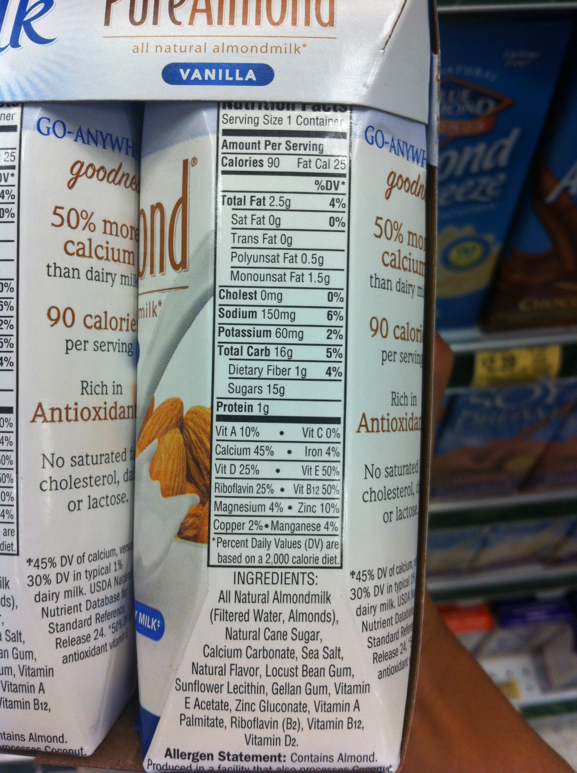 Blue diamond almond milk ingredients list